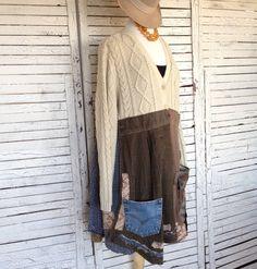 Fisherman's Sweater Tunic XXL Upcycled Clothing by AnikaDesigns