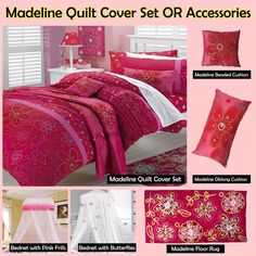MADELINE Red Ruffled Quilt Cover Set, Cushion,  Canopy , Floor Rug - SINGLE