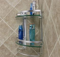 Free Shipping Aluminum 2 Tier Glass Shelf Corner Shower Holder Bathroom  Accessories Shelves For Storage