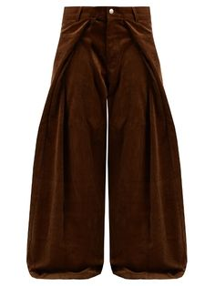 Martine Rose Fold-front wide-leg cotton-corduroy trousers