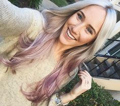 Rose gold dusty purple ombré hair. Long blonde hair with purple ends. Metallic…