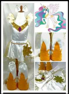 Princess Celestia Costume Top Skirt Cape Boots Ears
