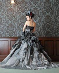 Gray Wedding Dress in Taffeta and Organza Gray Bridal Gown Gothic Wedding Dress
