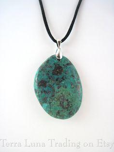 Genuine natural Turquoise stone drop necklace by TerraLunaTrading on Etsy. Arizona/Southwest style jewelry.