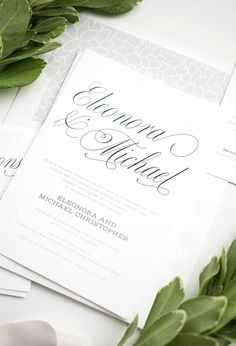 Classic Calligraphy Wedding invitations in Gray