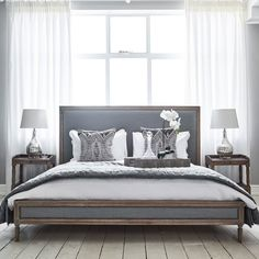 Boston Bed - Grey Linen and Oak