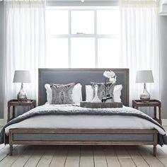 Boston Bed - Grey Linen and Oak | Brissi