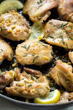 Easy one-pan Lemon Garlic Chicken Thighs that are Paleo and Whole30 friendly, ready in 20 minutes, and the whole family will love!