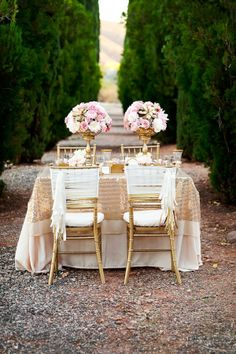 gold and pink wedding ideas: Love the center pieces and the chair treatment