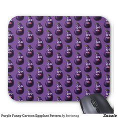 Purple Funny Cartoon #Eggplant Pattern #Mousepad / Zazzle