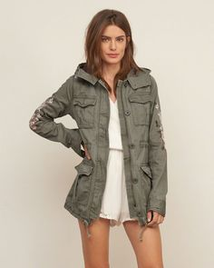 Womens Embroidered Twill Parka