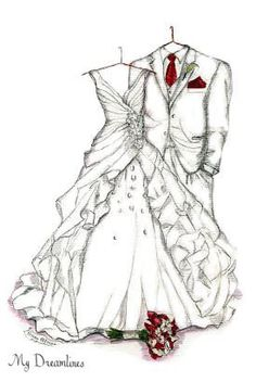 First Anniversary Gifts For Wife. Dreamlines wedding dress sketch. Sketch of Wedding Dress Tux & Bouquet One Year by Dreamlines https://www.etsy.com/listing/197871715/sketch-of-wedding-dress-tux-bouquet-one?