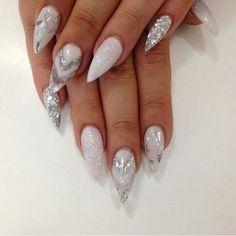 Silver Glitter Almond Shape Acrylic Nails