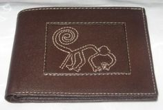 Peruanische echt Leder #Geldbörse, Monkey Inka Zeichen.