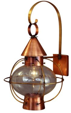 Cape Cod Onion Wall Mount Lantern with Bracket by Lanternland: The Cape Cod Onion Wall Mount Lantern with Bracket, shown in Antique Brass with Clear Glass, handcrafted in America from high quality brass or copper, is designed to last for decades. Easy online ordering, free shipping, choice of finishes and glass, custom options, lifetime warranty, UL listed, handmade, made in USA.