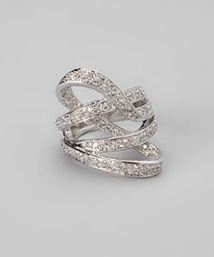 Take a look at this Sparkle & Silver Pavé Ribbon Ring by Amabel Designs on #zulily today!