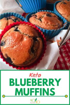 Low carb blueberry muffins are a treat that won't break the carb bank. They aren't technically keto but they might as well be! Low Sugar Recipes, No Sugar Foods, Real Food Recipes, Keto Recipes, Yummy Food, Bread Recipes, Healthy Recipes, Keto Blueberry Muffins, Blue Berry Muffins