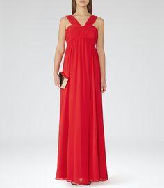 Reiss Miriana Women's Rum Cross-strap Maxi Dress