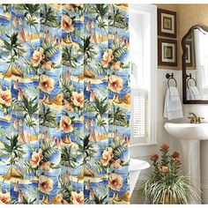 Tommy Bahama Paradise Found Palm Tree Fabric Shower Curtain New | eBay
