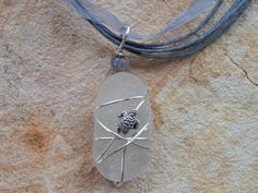 Wire Wrapped White Sea Glass Necklace by UniqueChiqueJewelry, $15.00