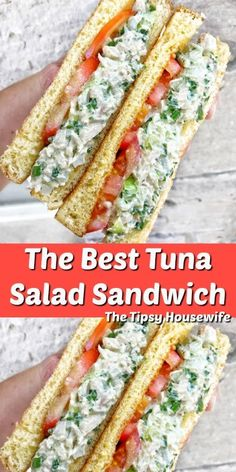 Tuna Salad Sandwich with Pickles, Onions and the best mayonnaise. Tuna Salad Sandwich with Pickles, Onions and the best mayonnaise. Tuna Sandwich Recipes, Tuna Salad Recipes, Healthy Tuna Sandwich, Best Tuna Salad Recipe, Tuna Spread Recipe, Tuna Salad Ingredients, Tuna Melt Recipe, Tuna Fish Recipes, Eating Clean