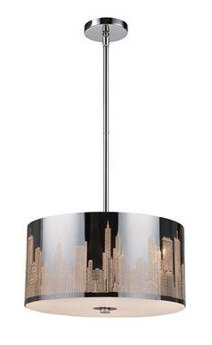 ELK Lighting 31038-3 Skyline Three Light Pendant In Polished Stainless Steel
