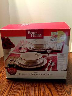 Better Homes and Gardens Mistletoe Christmas 12 pc Dinnerware Set Limited Ed NIB #BetterHomesandGardens