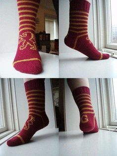 Go Gryffindor socks Double Knitting, Loom Knitting, Knitting Socks, Knitting Patterns Free, Knit Patterns, Free Pattern, Harry Potter Scarf, Harry Potter Outfits, Knitting Projects