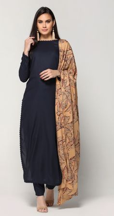 Navy Palm Print Straight Dress Pick your favorite from huge variety of Indian Salwaar Suit & Saree Collection. Pakistani Dresses, Indian Dresses, Indian Outfits, Indian Skirt, Indian Attire, Indian Wear, Indian Style, Ethnic Fashion, Indian Fashion