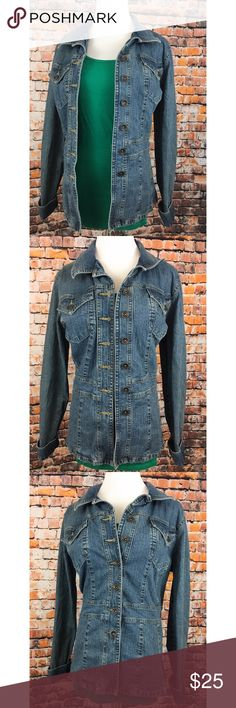 AXCESS Liz Claiborne. • Jean Jacket Great condition! Stretchy material, super flattering denim jacket. Versatile- wear it over a dress or with jeans and a tee. 99% cotton 1% spandex.      #13thwednesday #classic #staple #fall #spring Liz Claiborne Jackets & Coats Jean Jackets