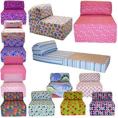 Cotton Print Single Chair Bed Z Guest Fold Out Futon Sofa Chairbed Matress Gilda