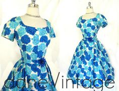 Vtg Silk Floral 1950s bombshell Fit Flare pretty Wedding Party Cocktail Dress M | eBay