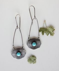 "r e s e r v e d for ""S"" only….Whoa Nellie…. sterling, turquoise textured earrings"