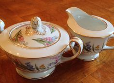 Noritake Spring Blossom  Cream and Sugar Set by JosChinaShop