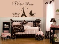 Paris Eiffel Tower Vinyl Wall Decal.  Like the color scheme and details just not a baby room