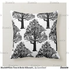 Shop Black Trees Birds Silhouette Throw Pillow created by LeonOziel. Custom Pillows, Decorative Throw Pillows, Black And White Tree, Bird Silhouette, Bird Tree, Single Image, Repeating Patterns, Knitted Fabric, Your Design