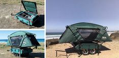 The Midget Bushtrekka is a wee four-wheeled wonder that weighs 50 pounds – no light load – with 180 liters of storage space easily accessed regardless of configuration. Outdoor Survival, Outdoor Gear, Portable Shelter, Portable Homes, Rain On Tent, Rent A Tent, Trailer Tent, Motorcycle Trailer, Tiny Camper