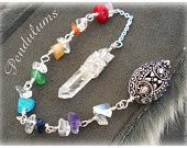 #PENDULUM Chakra Gemstones #Crystal Quartz Point, Zen Yoga Inspired Dowsing #Spirituality Magic #Mystical Metaphysical new age Wisdom Withcraft InspiredCreationsInc at Etsy.com