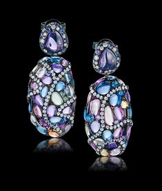 Multi Sapphire and Diamond Earrings by ARUNASHI