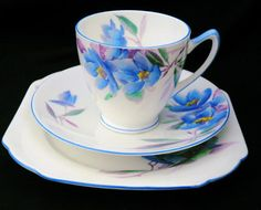 Shelley Late York Tea cup and saucer Trio blue by simplytclubhouse