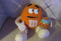 "11"" Orange Plush M&M Character holding Easter Egg 2001 by Nanco Mars Candy #Nanco"