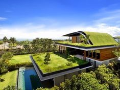 I love the concept of grass and vegetation on the roofs of homes. The curve design of the roof helps with utilizing rainfall for optimal use of the fresh rain water. Instead of having typical roof components utilizing nature as an alternative make for sustainable design (Jordan Boyer).