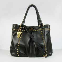 Prada Handbags   Prada Handbags Leather Braided Handles Studs In Black