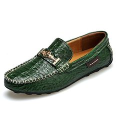 Men's Shoes, Loafers & Slip-Ons, High End Resistant Stamping Leather - Green - Leather Loafer Shoes, Loafers Men, Loafer Flats, Men's Shoes, Dress Shoes, Mens Winter Boots, Mens Fashion Shoes, Men's Fashion, Driving Shoes