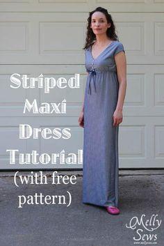 DIY Clothes Refashion: DIY Striped Maxi Sundress