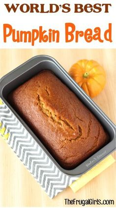 Whipped Cream Frosting Recipes World's Best Pumpkin Bread Recipe From My Family Loves This Easy Recipe - It Makes The Most Delicious, Moist Pumpkin Bread. A Perfect Match For Your Fall Mornings Or Paired With A Cup Of Coffee Fall Recipes, Holiday Recipes, Recipes Dinner, Dessert Recipes, Quick Dessert, Dessert Healthy, Dessert Bread, Dinner Healthy, Holiday Foods