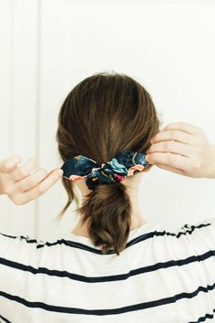 Floral Scrunchie with Bow Rifle Paper Co. Scarf Hairstyles, Cute Hairstyles, Lauren Johnson, Sewing Basics, Basic Sewing, 90s Girl, Rifle Paper Co, Girl Dancing, Pdf Sewing Patterns