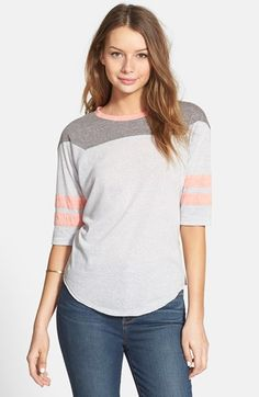 LIVING DOLL Colorblock Baseball Tee (Juniors) available at #Nordstrom