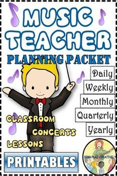 Half Price first 24 hours....This is a Music Teacher Planning Packet with Sheets for Daily, Weekly, Monthly, Quarterly and Yearly Lesson Planning, Calendar, Concert Planning Sheets, Notebook dividers, 2 classroom posters, an IDEA page for lesson planning