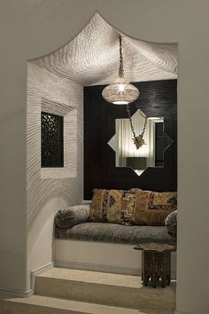 OBSESSED FOR NOOK/ WINDOW SEAT AREA... FABRIC ON CEILING? COMFY SEATING???